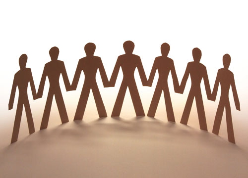 Networking - A chain of people representing a network