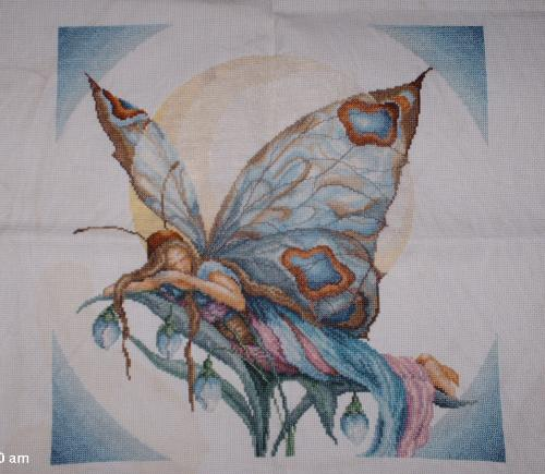 Night Butterfly Fairy - This piece took me about 4 months to finish. (I have a lot of time to do them). It was so much fun because you could just see it coming to life. It was a 6 page chart. There are single thread, and double threads. I also did the matching fairy in the set.