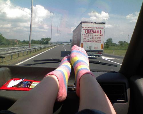 My poor tired legs! - My legs in my car
