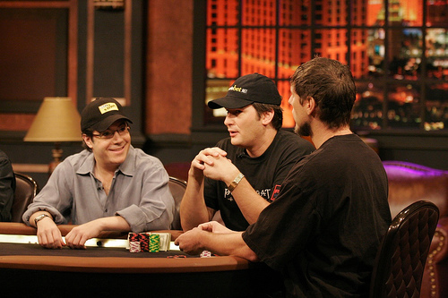 Jamie Gold, Huck Seed and Phil Helmuth - Jamie Gold, Huck Seed and Phil Helmuth sitting at a table during Poker After Dark.