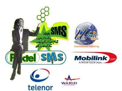 Pakistani Mobile Networks. - Paktel, Ufone, Mobilink, Telenor, Warid logos with a lady holding flying circles.