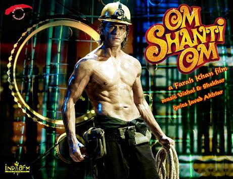 Sharukh Khan - Sharukh Khan with his new abs in the movie Om Shanti Om.