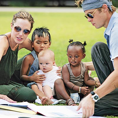 The Jolie-Pitt Family - Angie, Brad, and children, Maddox, Zahara, and baby Shiloh.