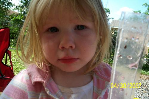 Can you tell she is in trouble? - My daughter giving me that 'sad' look because she was bad!