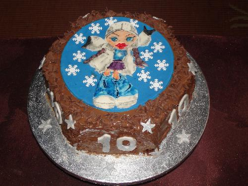 Bratz Cake - Lauren's tenth birthday, all chocolate Bratz cake. Sprinkled with chocolate curls.
