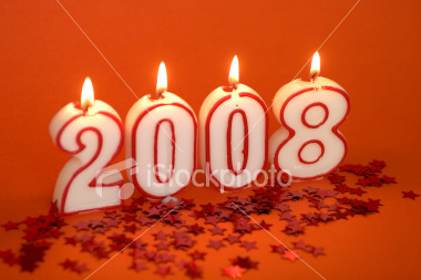 The Year 2008 - An image potraying the year for 2008 in candle lights.