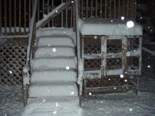 Plenty of snow - my deck tonight in the snow