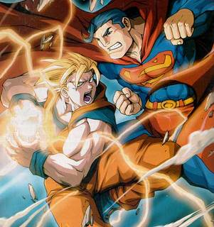 Goku vs Superman... - this is a picture of DC comics superhero Superman and Goku from the worldhit anime series DRagonballZ...