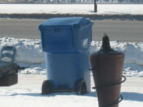 My garbage sitting for pick up - Didn't want to go out in the cold, so I took this from my couch. HAHAHA!