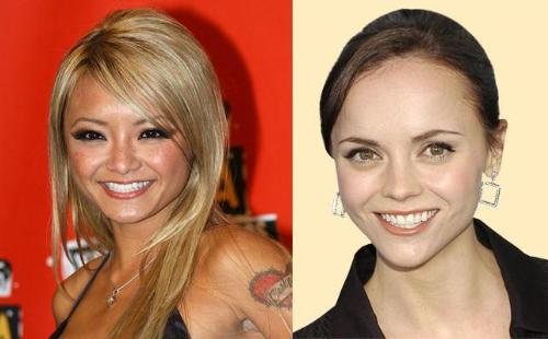 Christina Ricca and Tila Tequila - Look at the shape of each actresses face, forhead and chin. Christina has had no surgery that I am aware of, but what I have read says that Tila has had alot. I think Tila is trying to look like Christina.