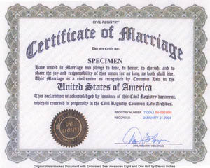 common law marriage certificate - Generic shot of a common law marriage certificate