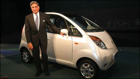 Nano, by TATA - This is the new car 'Nano', manufactured by TATA. It was unveiled this week, during the international Auto expo at Delhi. Seen here is Mr.Ratan Tata, with his new model.
