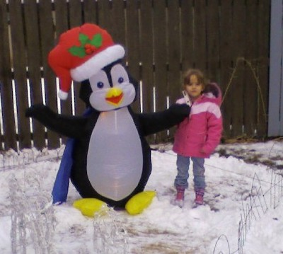 Daughter in December 2007  - Pic of my daughter outside just before I set up the rest of the Xmas decorations.