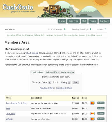 CashCrate - This is an image of using CashCrate when filling out surveys and other information that gets you paid.