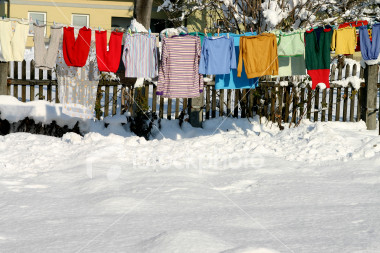 Drying Clothes - Picture of clothes being dried outside.