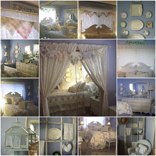 bedroom, cottage style, shabby chic, dream room  - details of a cottage style, shabby chic bedroom