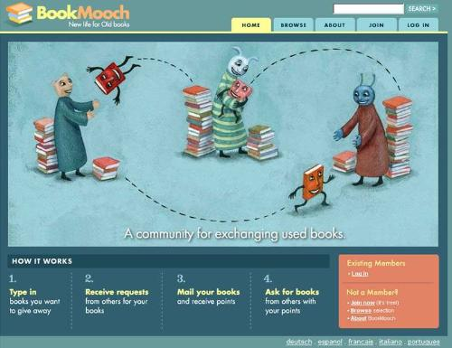 Bookmooch - send books and get books for Free - By joining this social book networking site, you are entitled to receive FREE books - yes FREE books by being an active member and sending at least one book from your inventory. It's just that easy! Sign up now and be a part of the huge book site! We could also swap too! My username there is irisbuen.