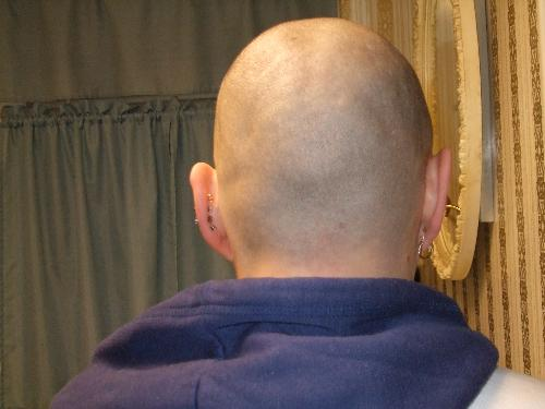 This is the back of my head! - I shaved my head on January 1, 2008, in sympathy and support for my SIL, who has a brain tumor. This is a photo of something I had never seen before.... the back of my naked head!