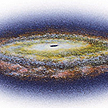 outer space -  This picture is a depiction of a black hole in outer space.
