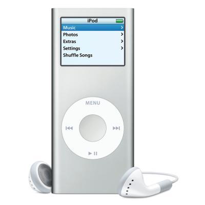 iPod Nano - A silver iPod nano (like mine is).