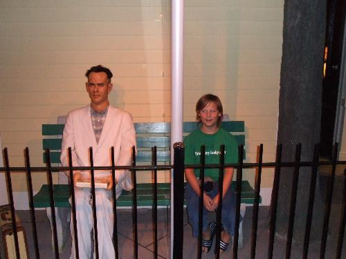nick with forrest gump  - My son with a wax figure of Forrest Gump on a recent visit to Canada.