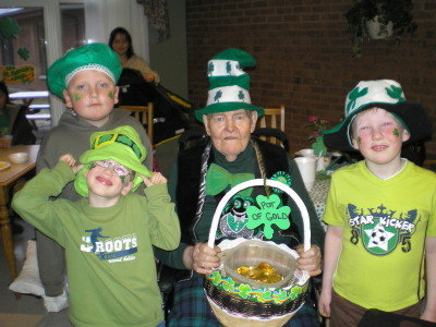 "Grampa and the Boys St Patricks' Day 2007 - ""Pub Night"" at the nursing home, Grampa and the boys 2007."
