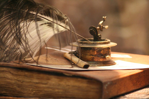 Quill, Ink & Book - A visual of the word writing...