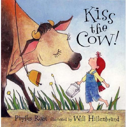 Illustration Showing a Girl Kissing A Cow - image of a girl kissing a cow