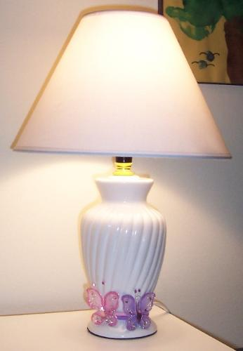 Thrifty Butterfly Lamp - Small white ceramic lamp detailed with butterflies