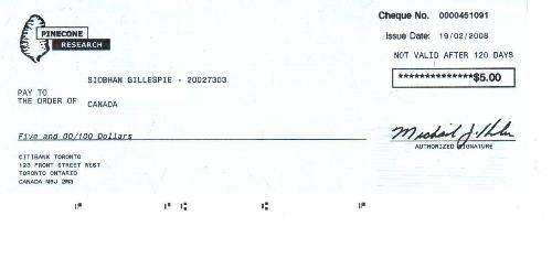 Pinecone Research Cheque #1 - This was my first cheque from Pinecone research!