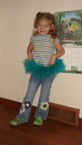 tutu - my daughter wearing a green tutu.