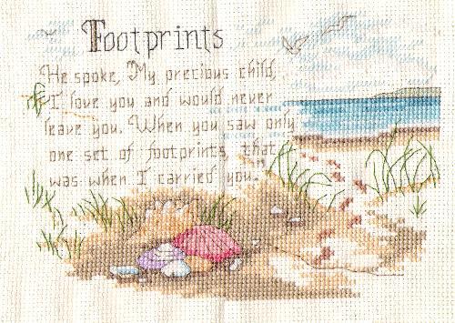 """Footprints - 5""""x 7"""" cross-stitch"""
