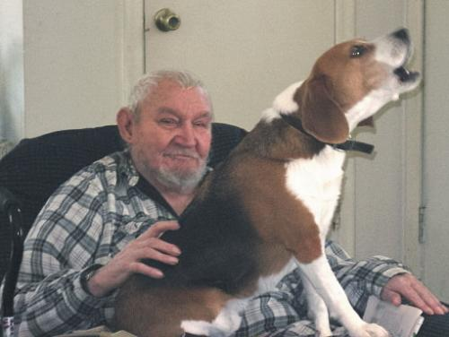 Dad & Buster - Howling and old. HAHAHAHA! Best way to describe this shot.
