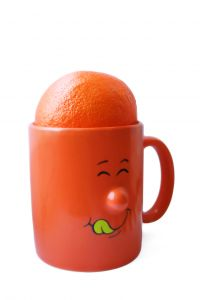 cute orange cup - Honestly, I am not sure what to write here. It's an orange in a cute cup....?