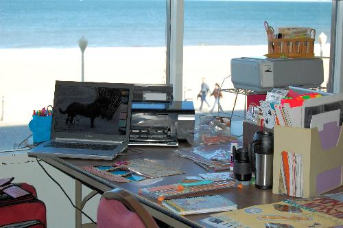 My scrappin space with a view - The view was great, overlooking the beach and ocean.