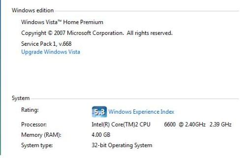 4gb in sp1 32bit - 4gb in vista sp1 32bit