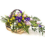 Spring Flowers - A trug of spring flowers, which would be left on the doorstep of a friend, or elderly person unable to get out for Ostara celebrations.