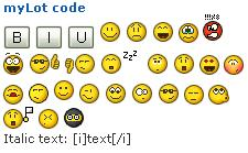 myLot code - formatting and emoticons