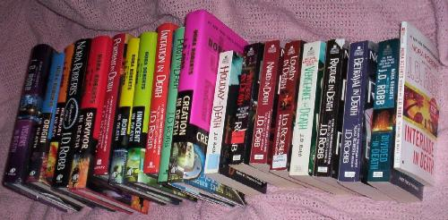 """My J.D. Robb """"In Death"""" series books that I own - Well it's part of my collection anyway. My new one isn't here yet!"""