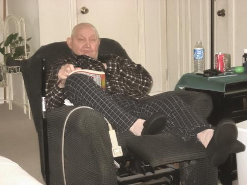 Dad being lazy - He sits here ALL day doing word search puzzles.