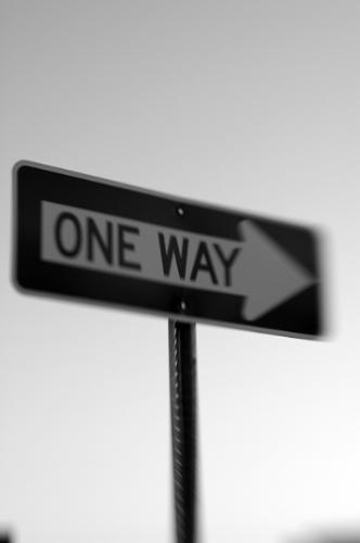 One Way - A picture I took of a One Way sign using a Lensbaby 3G