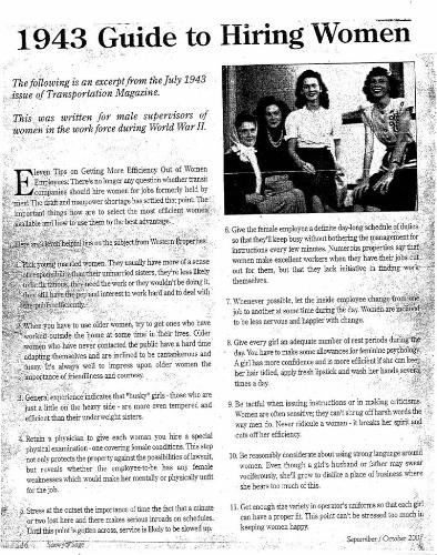 1943 article - An article for men looking to hire.  Details on what type of Woman to hire, as well as how to treat them at work.
