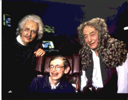 Hawking appears on Star Trek, with Sir Isaac Newto - A picture of Hawking in Star Trek: The Next Generation. Holgrams of famous scientists are at the core of one of Data's little mind-expanding experiments.