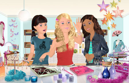 barbie diaries - this is a scene from barbie diaries where barbie and her friends tia and courney got the bracelet charms