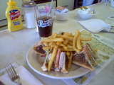 Plate of Food - French fries, sandwich and soda