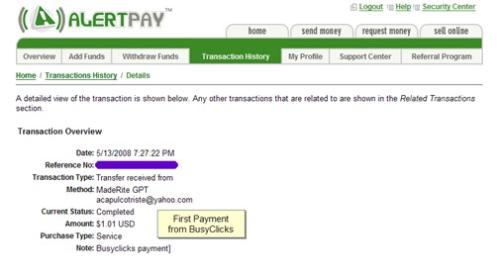 BusyClicks Payment - Screenshot proof of payment from BusyClicks, one of my favorite PTC sites.