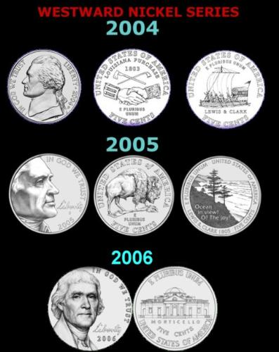 westward journey nickels - united states nickels commemorating the exploration of the united states frontier by Lewis and Clark