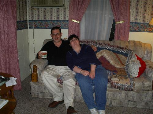Amanda and Mark - I took this picture of Amanda and Mark at our house after he brought her home from their date Saturday night. He likes my coffee so I always have some made when they get home LOL!! He said it helps him stay awake on his drive back home to Mississippi. :)