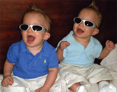 Twins - Twin babies that are 7 months old showing off their shades.