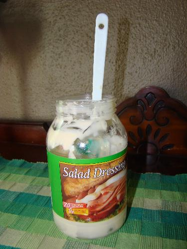 Salad Dressing - I add generic salad dressing to the Miracle Whip jar to make it last longer.